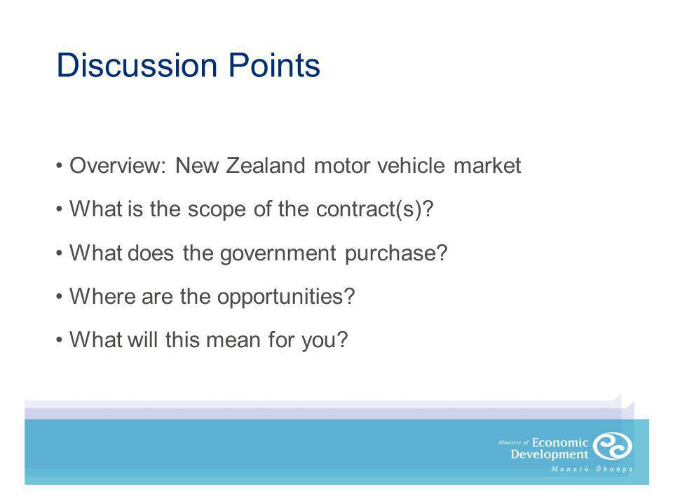 Overview: New Zealand motor vehicle market What is the scope of the contract(s).