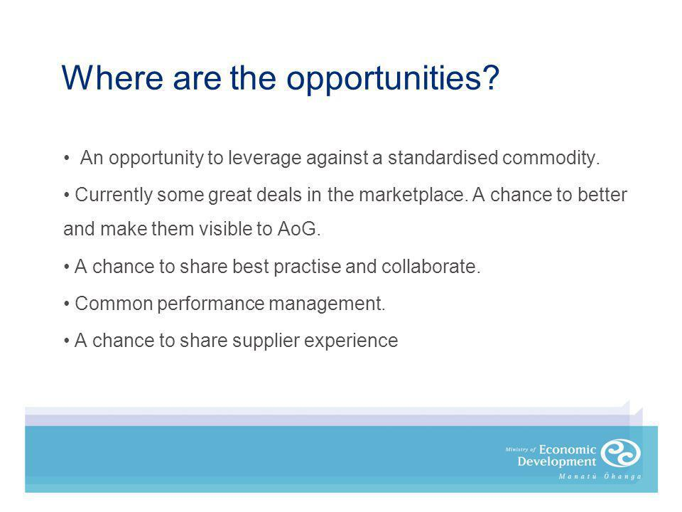 Where are the opportunities. An opportunity to leverage against a standardised commodity.