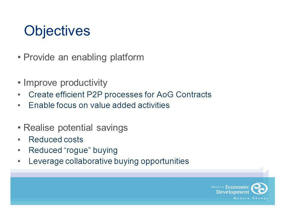 Objectives Provide an enabling platform Improve productivity Create efficient P2P processes for AoG Contracts Enable focus on value added activities Realise potential savings Reduced costs Reduced rogue buying Leverage collaborative buying opportunities