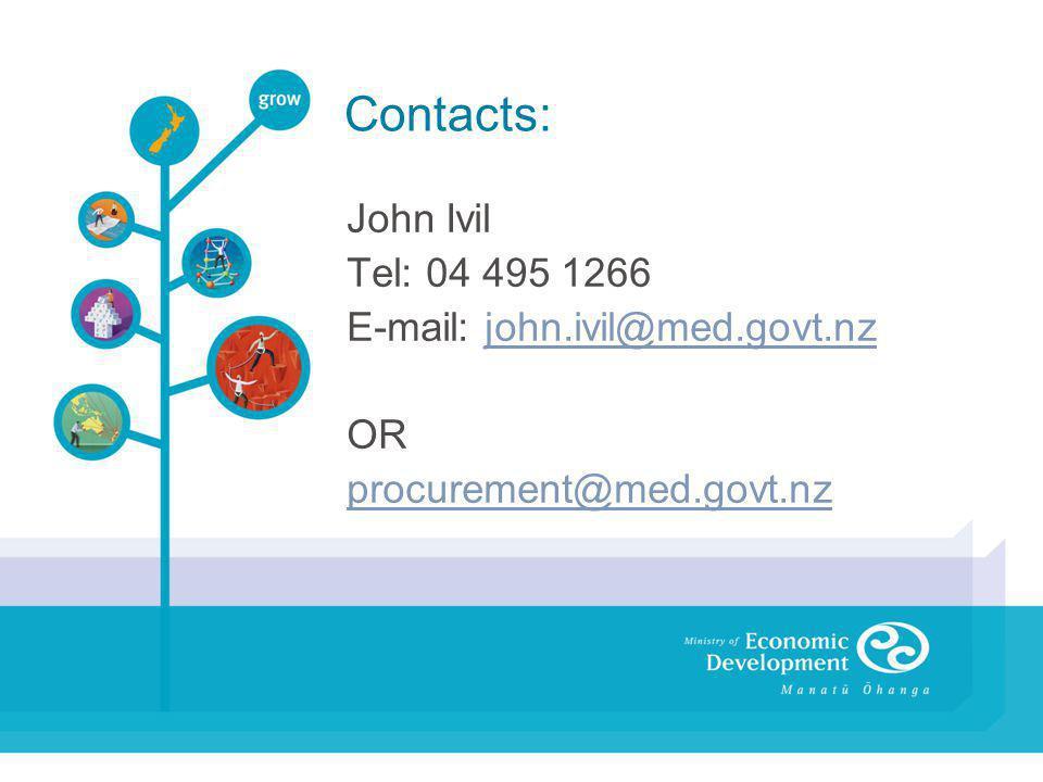 Contacts: John Ivil Tel: 04 495 1266 E-mail: john.ivil@med.govt.nzjohn.ivil@med.govt.nz OR procurement@med.govt.nz