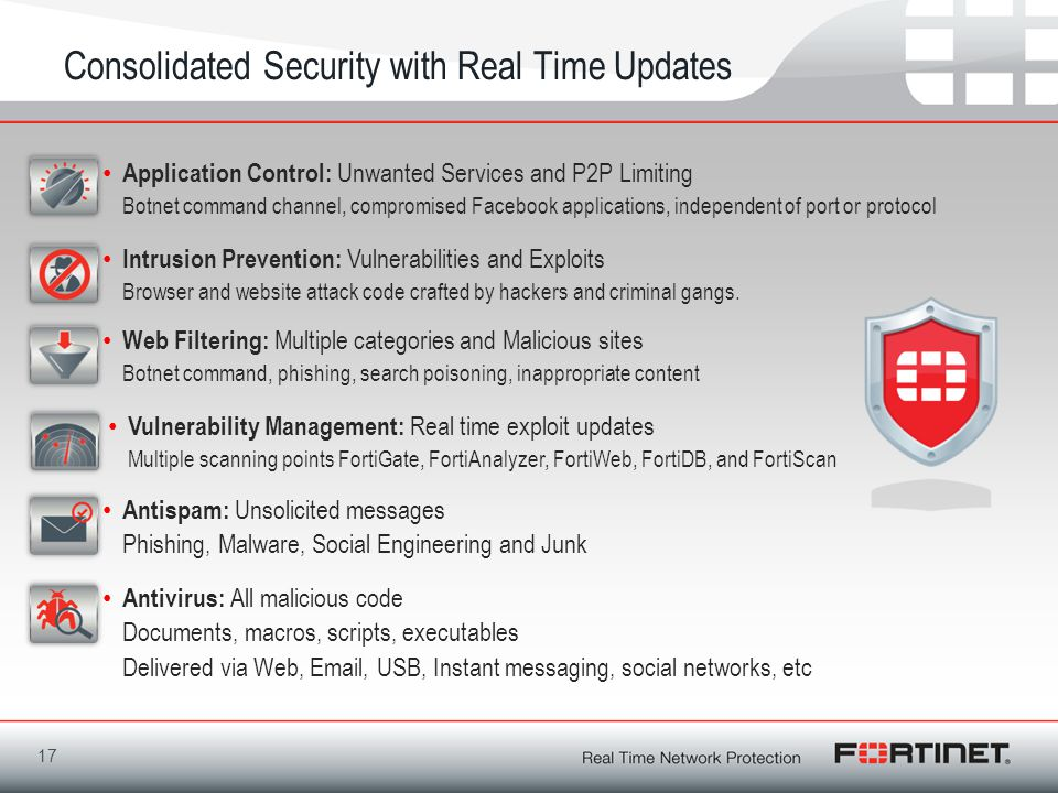 17 Consolidated Security with Real Time Updates Intrusion Prevention: Vulnerabilities and Exploits Browser and website attack code crafted by hackers