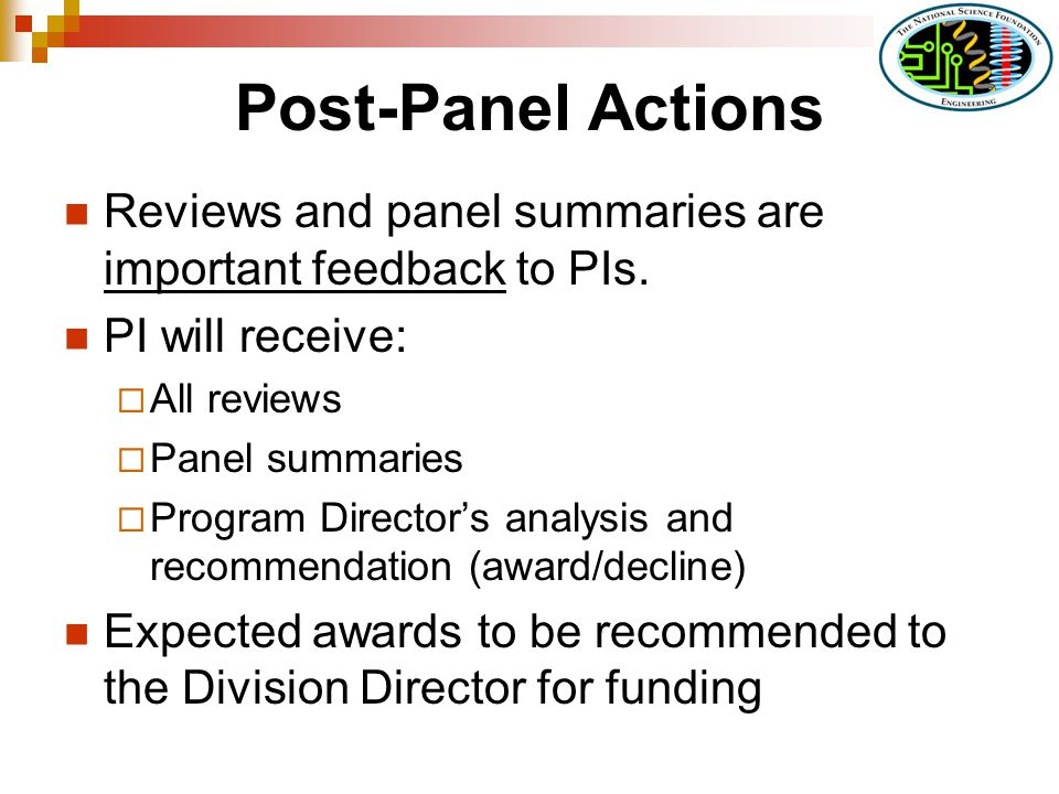 Post-Panel Actions Reviews and panel summaries are important feedback to PIs.