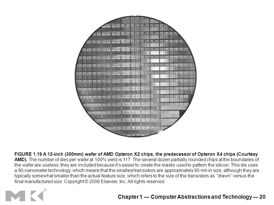 Chapter 1 Computer Abstractions and Technology 20 FIGURE 1.19 A 12-inch (300mm) wafer of AMD Opteron X2 chips, the predecessor of Opteron X4 chips (Co