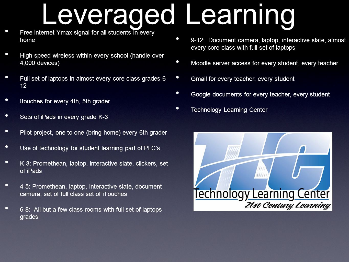 Leveraged Learning Free internet Ymax signal for all students in every home High speed wireless within every school (handle over 4,000 devices) Full set of laptops in almost every core class grades 6- 12 Itouches for every 4th, 5th grader Sets of iPads in every grade K-3 Pilot project, one to one (bring home) every 6th grader Use of technology for student learning part of PLCs K-3: Promethean, laptop, interactive slate, clickers, set of iPads 4-5: Promethean, laptop, interactive slate, document camera, set of full class set of iTouches 6-8: All but a few class rooms with full set of laptops grades 9-12: Document camera, laptop, interactive slate, almost every core class with full set of laptops Moodle server access for every student, every teacher Gmail for every teacher, every student Google documents for every teacher, every student Technology Learning Center