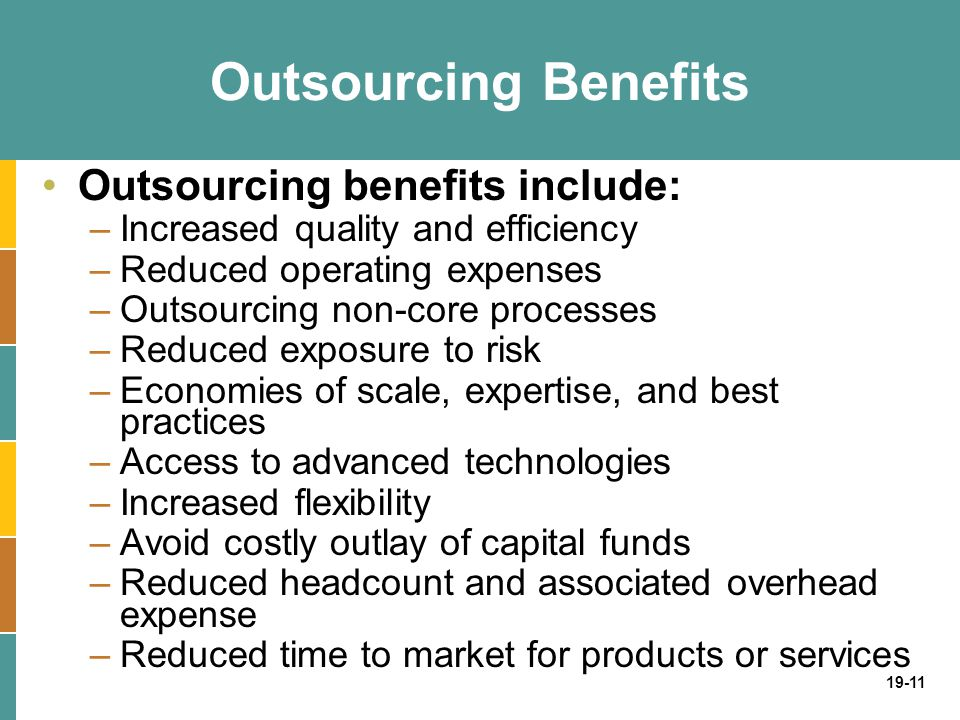 19-11 Outsourcing Benefits Outsourcing benefits include: –Increased quality and efficiency –Reduced operating expenses –Outsourcing non-core processes