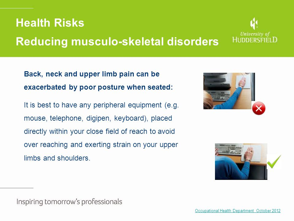 Back, neck and upper limb pain can be exacerbated by poor posture when seated: It is best to have any peripheral equipment (e.g. mouse, telephone, dig