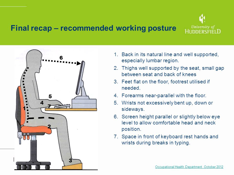 Final recap – recommended working posture Occupational Health Department October 2012 1.Back in its natural line and well supported, especially lumbar