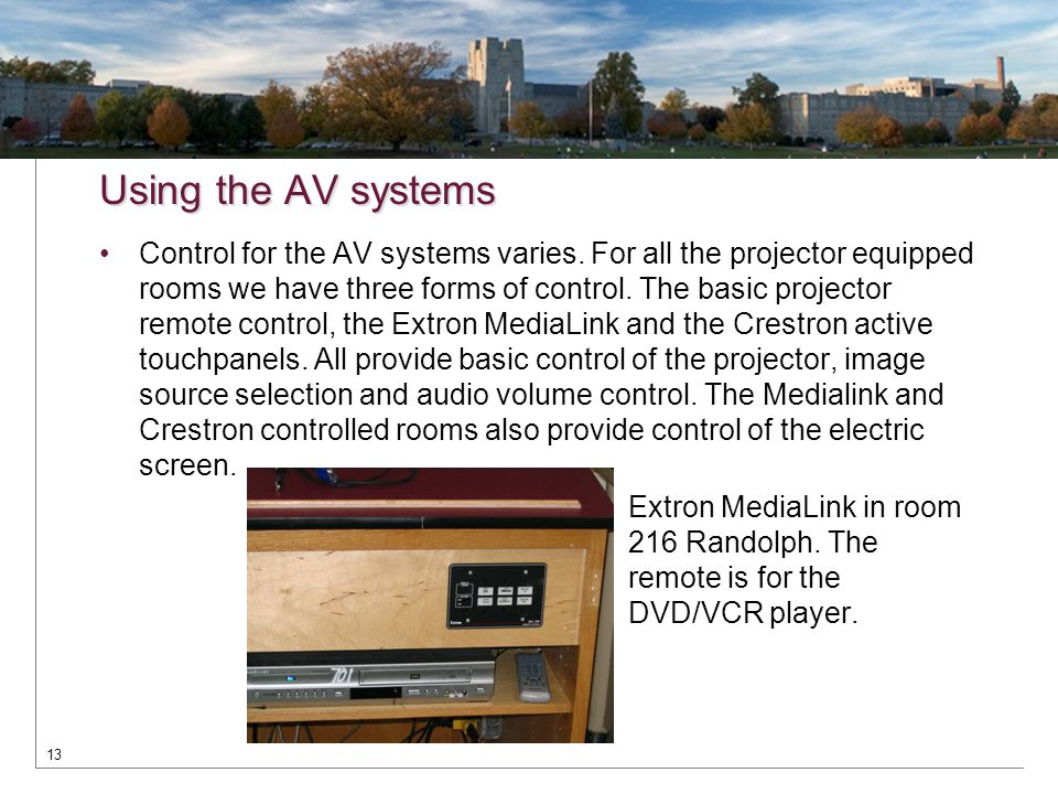 Using the AV systems Control for the AV systems varies. For all the projector equipped rooms we have three forms of control. The basic projector remot