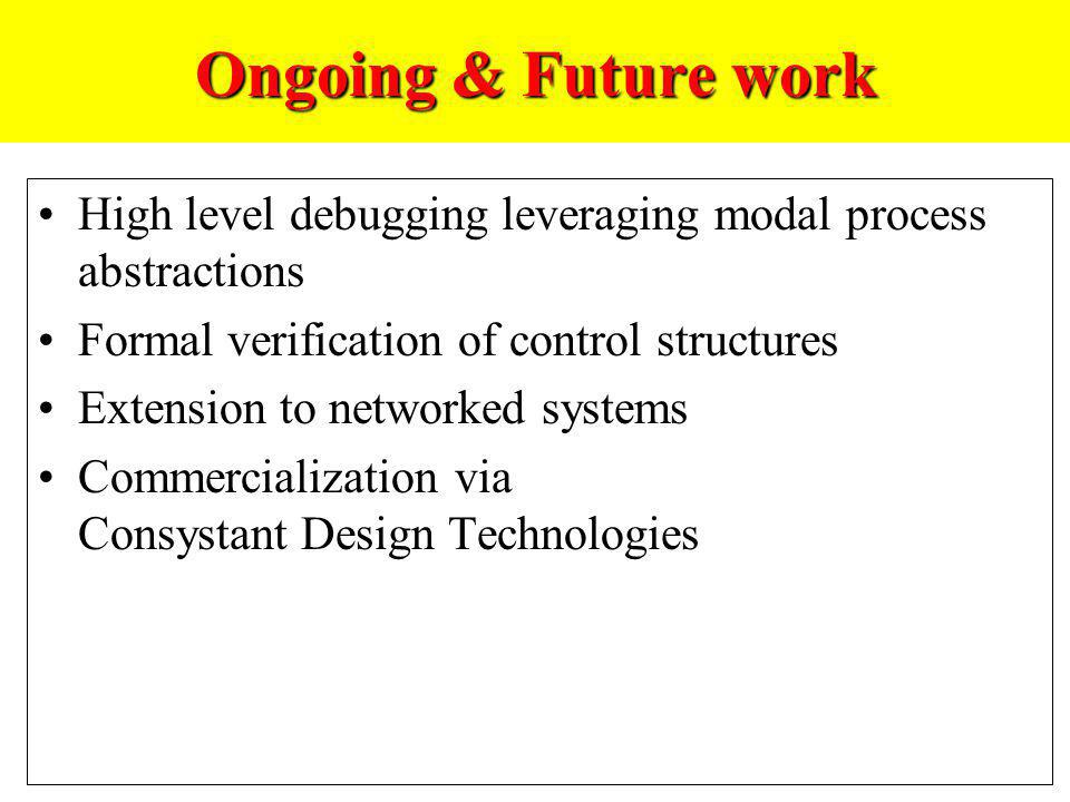Ongoing & Future work High level debugging leveraging modal process abstractions Formal verification of control structures Extension to networked syst