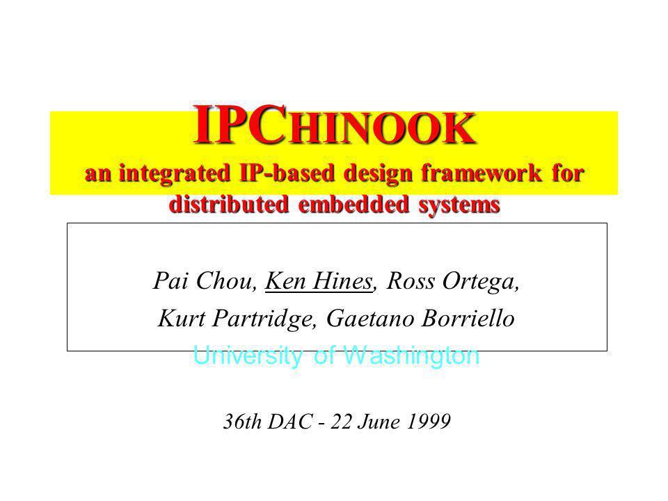 IPC HINOOK an integrated IP-based design framework for distributed embedded systems Pai Chou, Ken Hines, Ross Ortega, Kurt Partridge, Gaetano Borriell