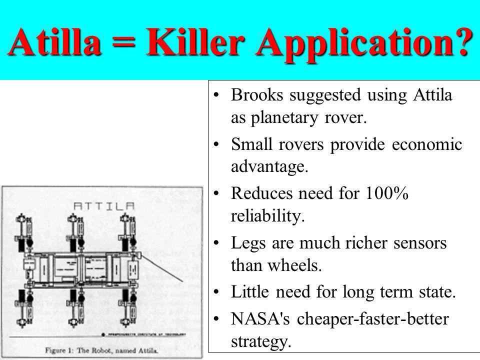 Atilla = Killer Application? Brooks suggested using Attila as planetary rover. Small rovers provide economic advantage. Reduces need for 100% reliabil