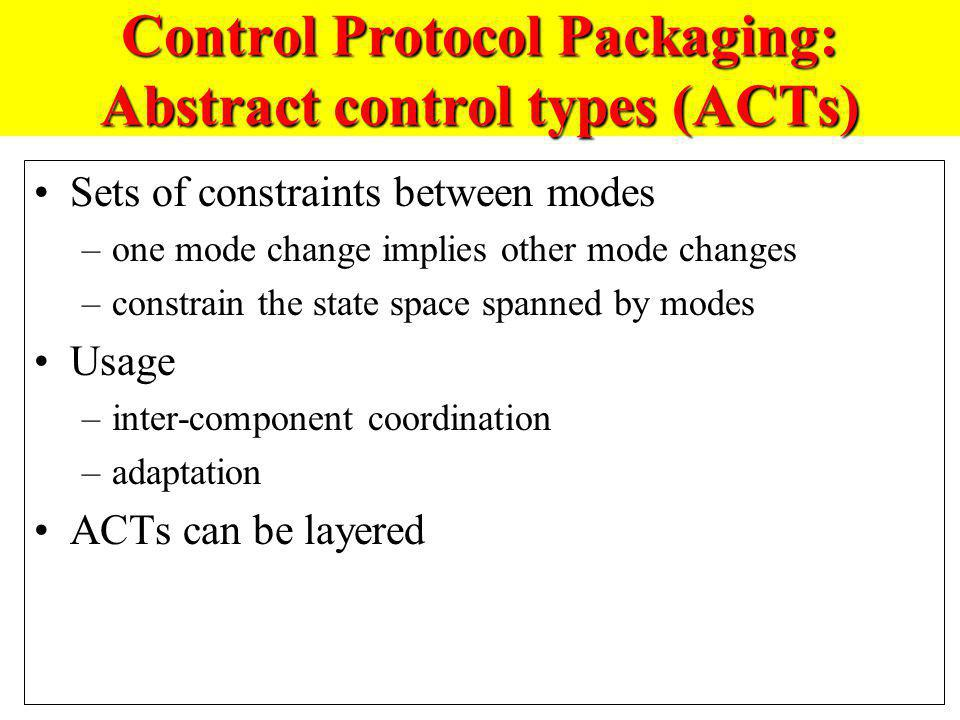 Control Protocol Packaging: Abstract control types (ACTs) Sets of constraints between modes –one mode change implies other mode changes –constrain the