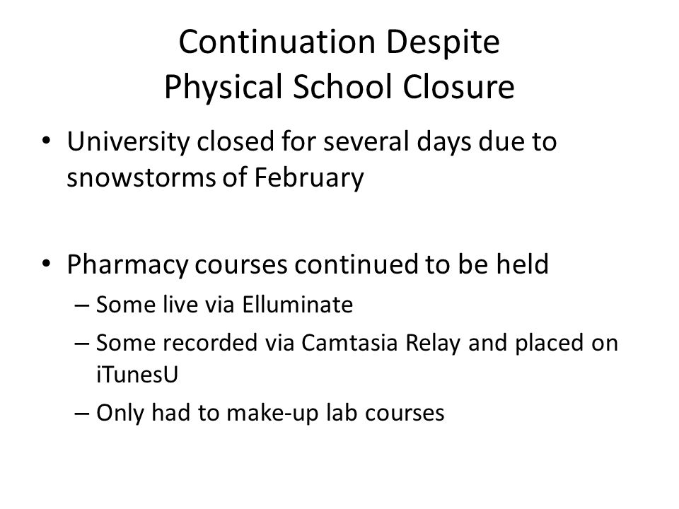 Continuation Despite Physical School Closure University closed for several days due to snowstorms of February Pharmacy courses continued to be held –