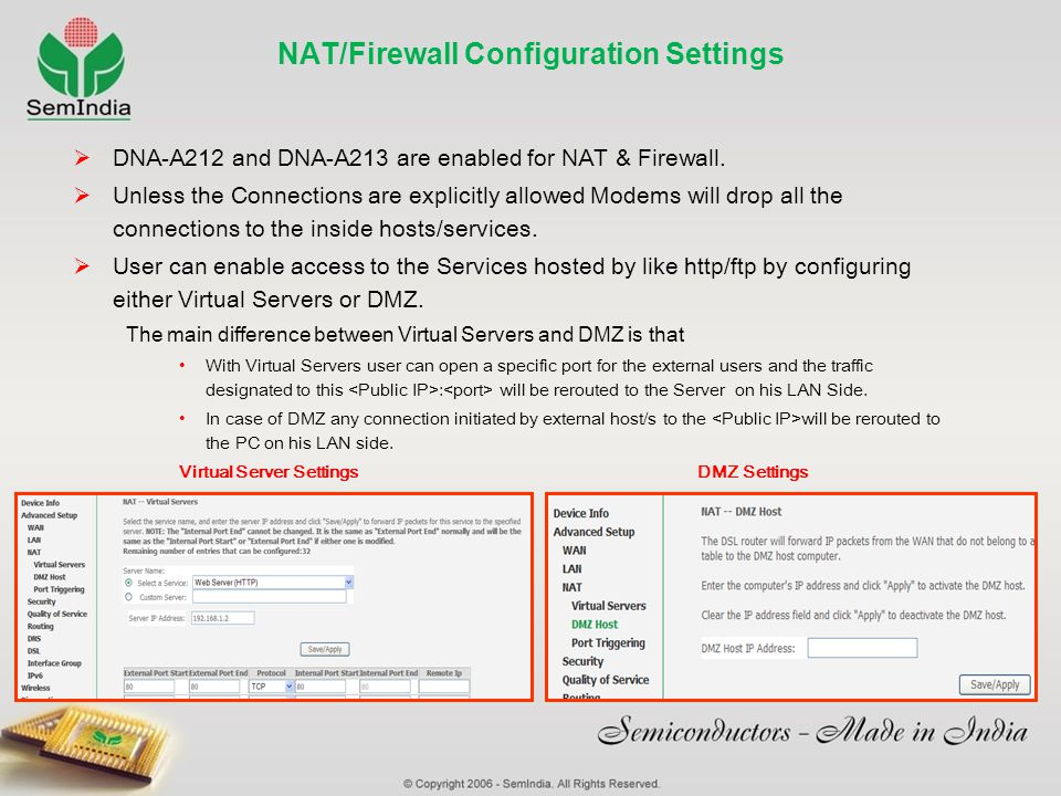 NAT/Firewall Configuration Settings DNA-A212 and DNA-A213 are enabled for NAT & Firewall. Unless the Connections are explicitly allowed Modems will dr