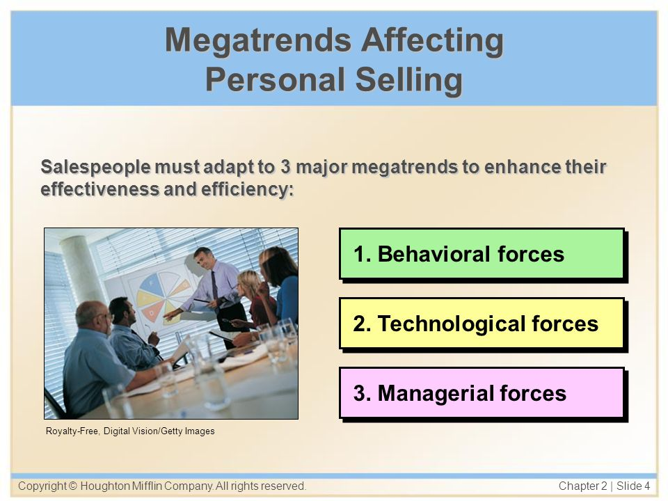 Copyright © Houghton Mifflin Company. All rights reserved. Chapter 2   Slide 4 Megatrends Affecting Personal Selling Salespeople must adapt to 3 major