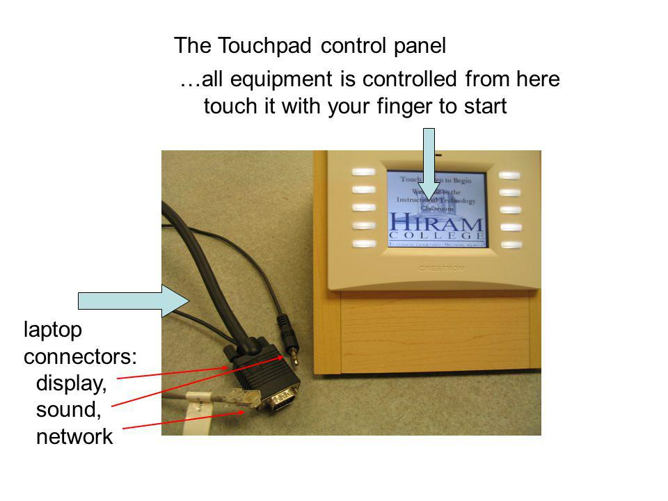 The Touchpad control panel …all equipment is controlled from here touch it with your finger to start laptop connectors: display, sound, network