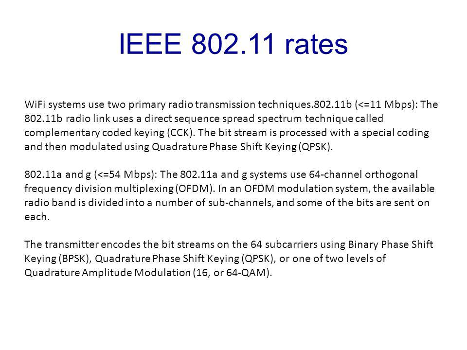 WiFi systems use two primary radio transmission techniques.802.11b (<=11 Mbps): The 802.11b radio link uses a direct sequence spread spectrum technique called complementary coded keying (CCK).