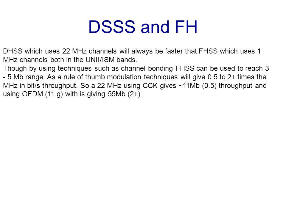 DSSS and FH DHSS which uses 22 MHz channels will always be faster that FHSS which uses 1 MHz channels both in the UNII/ISM bands.