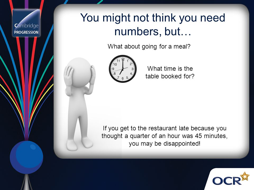 You might not think you need numbers, but… What about going for a meal? What time is the table booked for? If you get to the restaurant late because y