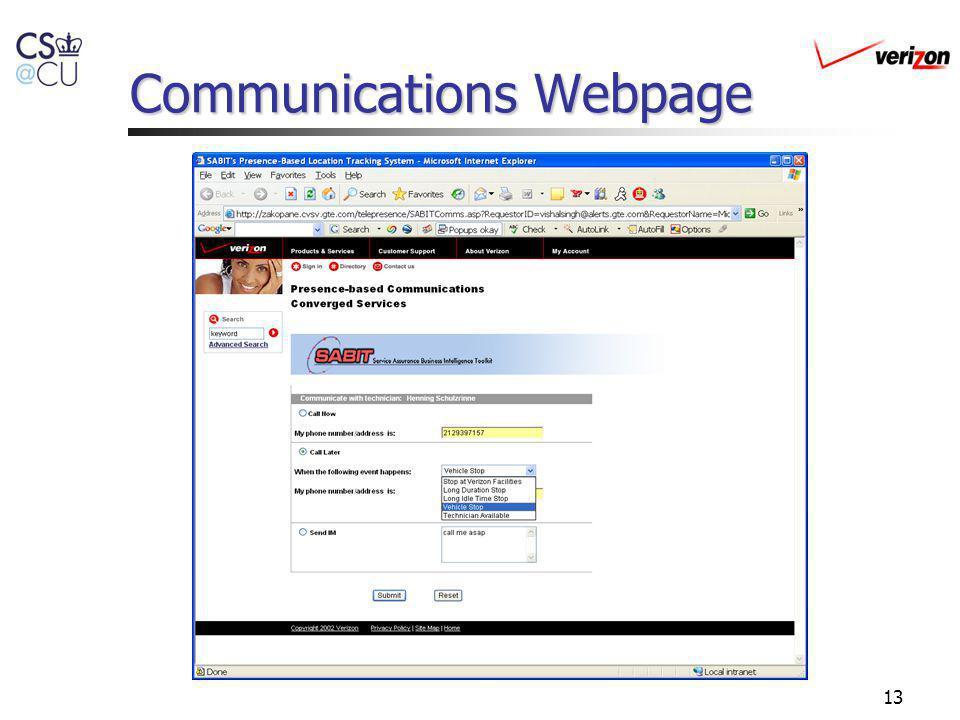 13 Communications Webpage