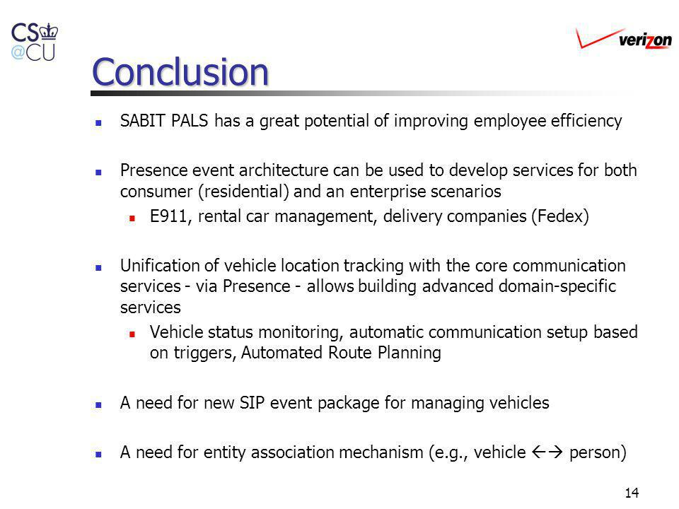 14 Conclusion SABIT PALS has a great potential of improving employee efficiency Presence event architecture can be used to develop services for both consumer (residential) and an enterprise scenarios E911, rental car management, delivery companies (Fedex) Unification of vehicle location tracking with the core communication services - via Presence - allows building advanced domain-specific services Vehicle status monitoring, automatic communication setup based on triggers, Automated Route Planning A need for new SIP event package for managing vehicles A need for entity association mechanism (e.g., vehicle person)