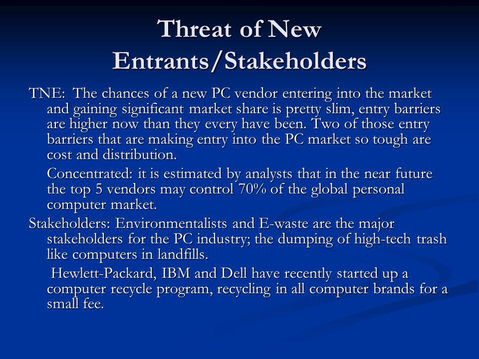 Threat of New Entrants/Stakeholders TNE: The chances of a new PC vendor entering into the market and gaining significant market share is pretty slim,