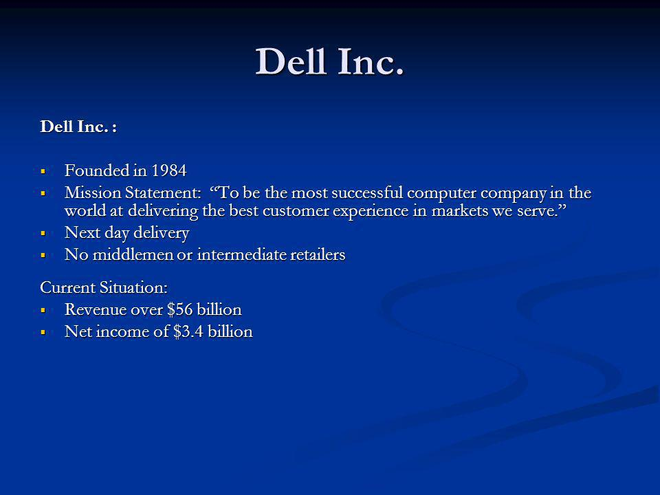Dell Inc. Dell Inc. : Founded in 1984 Founded in 1984 Mission Statement: To be the most successful computer company in the world at delivering the bes