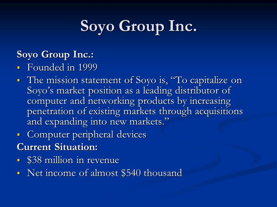 Soyo Group Inc. Soyo Group Inc.: Founded in 1999 Founded in 1999 The mission statement of Soyo is, To capitalize on Soyos market position as a leading