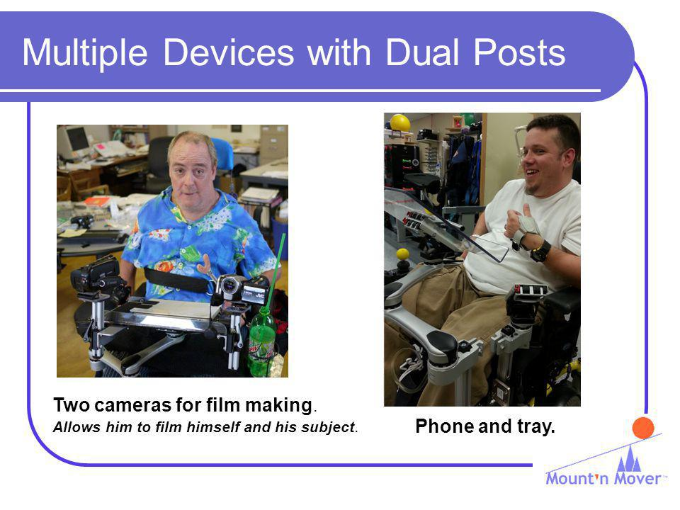 Multiple Devices with Dual Posts Phone and tray. Two cameras for film making.