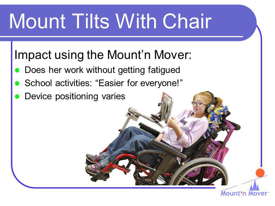 Mount Tilts With Chair Impact using the Mountn Mover: Does her work without getting fatigued School activities: Easier for everyone! Device positionin