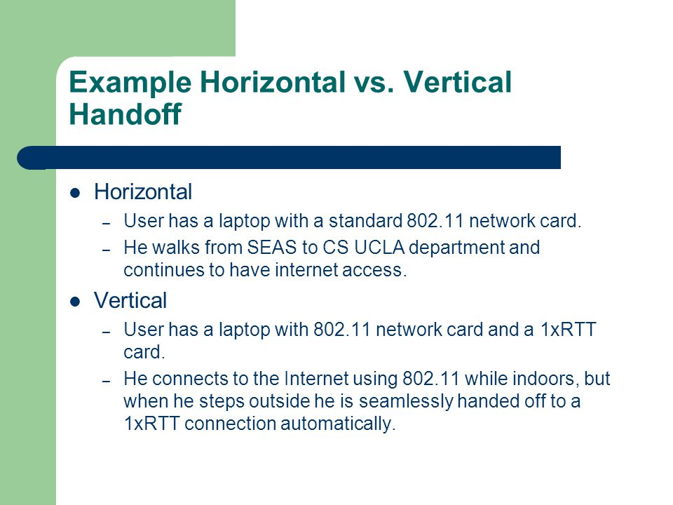 Example Horizontal vs.