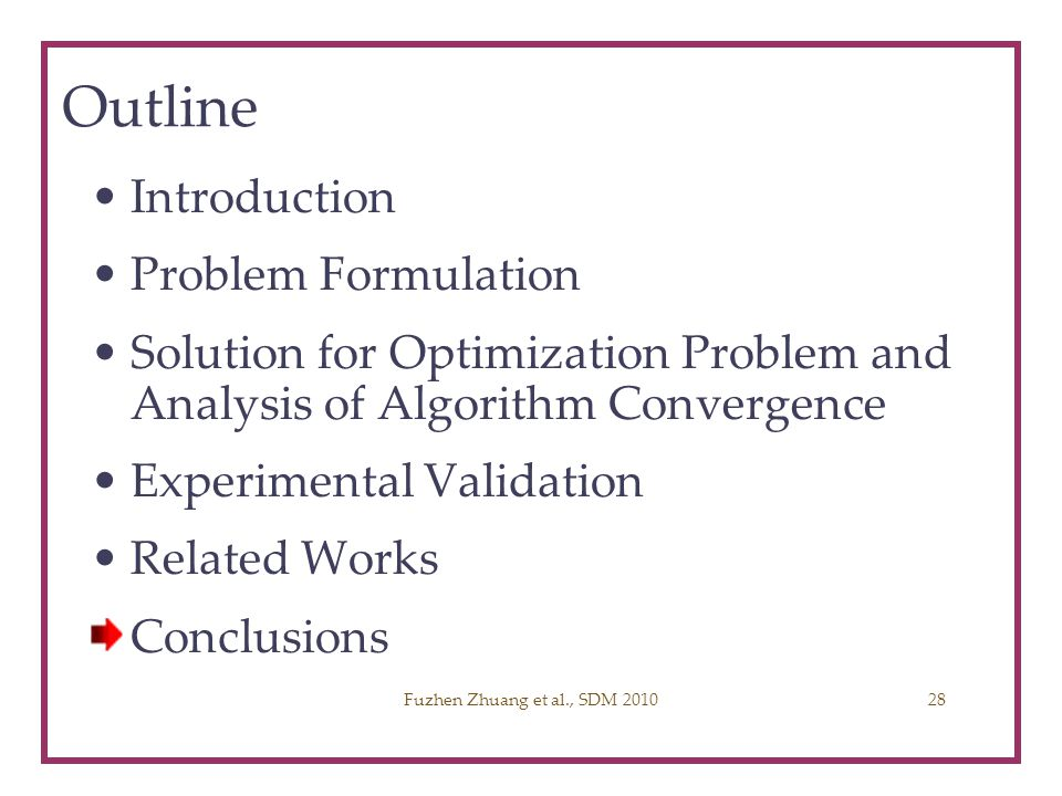 Outline Introduction Problem Formulation Solution for Optimization Problem and Analysis of Algorithm Convergence Experimental Validation Related Works