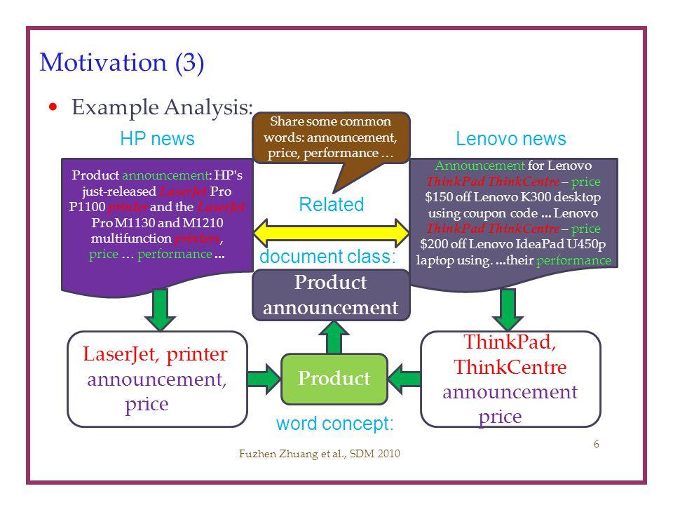 Motivation (3) Example Analysis: Fuzhen Zhuang et al., SDM 2010 Product announcement: HP's just-released LaserJet Pro P1100 printer and the LaserJet P