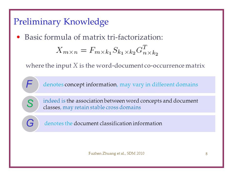 Problem Formulation (1) Input: source domain X s, target domain X t Matrix tri-factorization based classification framework Two-step Optimization Framework (MTrick0) Joint Optimization Framework (MTrick) Fuzhen Zhuang et al., SDM 2010 9