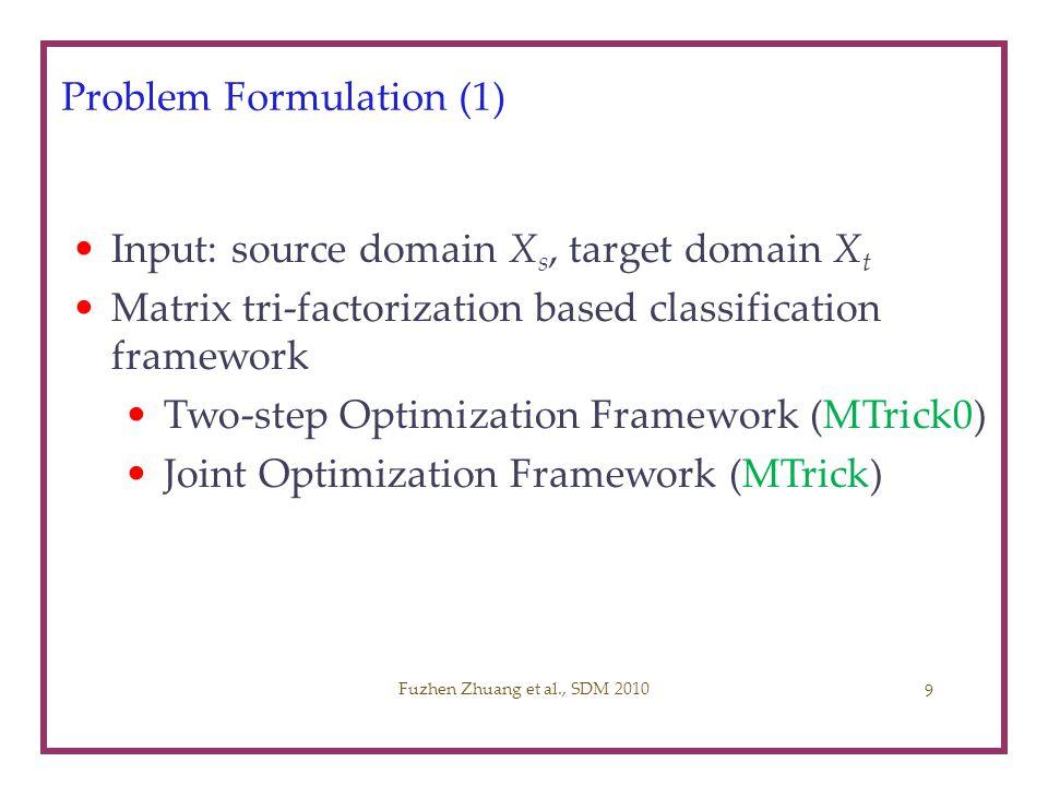 Experimental Preparation (3) Compared Algorithms –Supervised Learning: Logistic Regression (LG) [David et al., 00] Support Vector Machine (SVM) [Joachims, ICML99] –Semi-supervised Learning: TSVM [Joachims, ICML99] –Cross-domain Learning: CoCC [Dai et al., KDD07] LWE [Gao et al., KDD08] Our Methods MTrick0 (Two-step optimization framework) MTrick (Joint optimization framework) Measure: classification accuracy Fuzhen Zhuang et al., SDM 201020