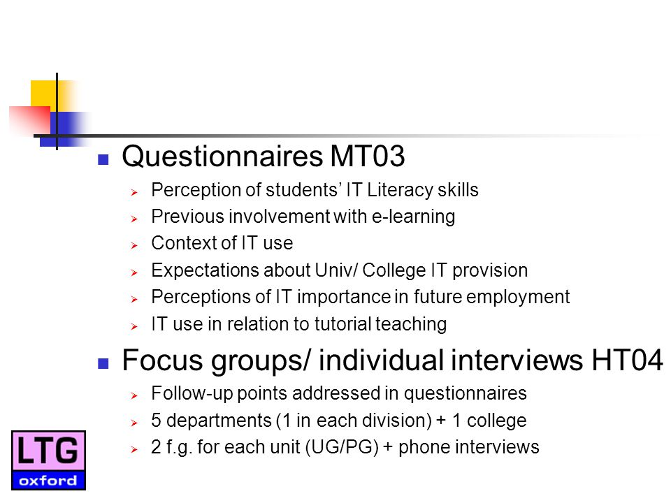 Questionnaires MT03 Perception of students IT Literacy skills Previous involvement with e-learning Context of IT use Expectations about Univ/ College IT provision Perceptions of IT importance in future employment IT use in relation to tutorial teaching Focus groups/ individual interviews HT04 Follow-up points addressed in questionnaires 5 departments (1 in each division) + 1 college 2 f.g.