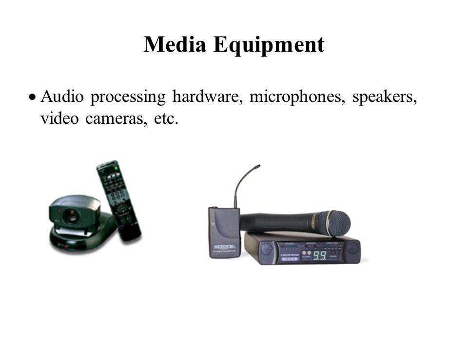 Media Equipment Audio processing hardware, microphones, speakers, video cameras, etc.