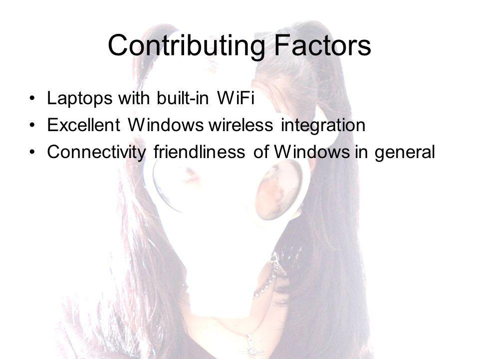 Contributing Factors Laptops with built-in WiFi Excellent Windows wireless integration Connectivity friendliness of Windows in general