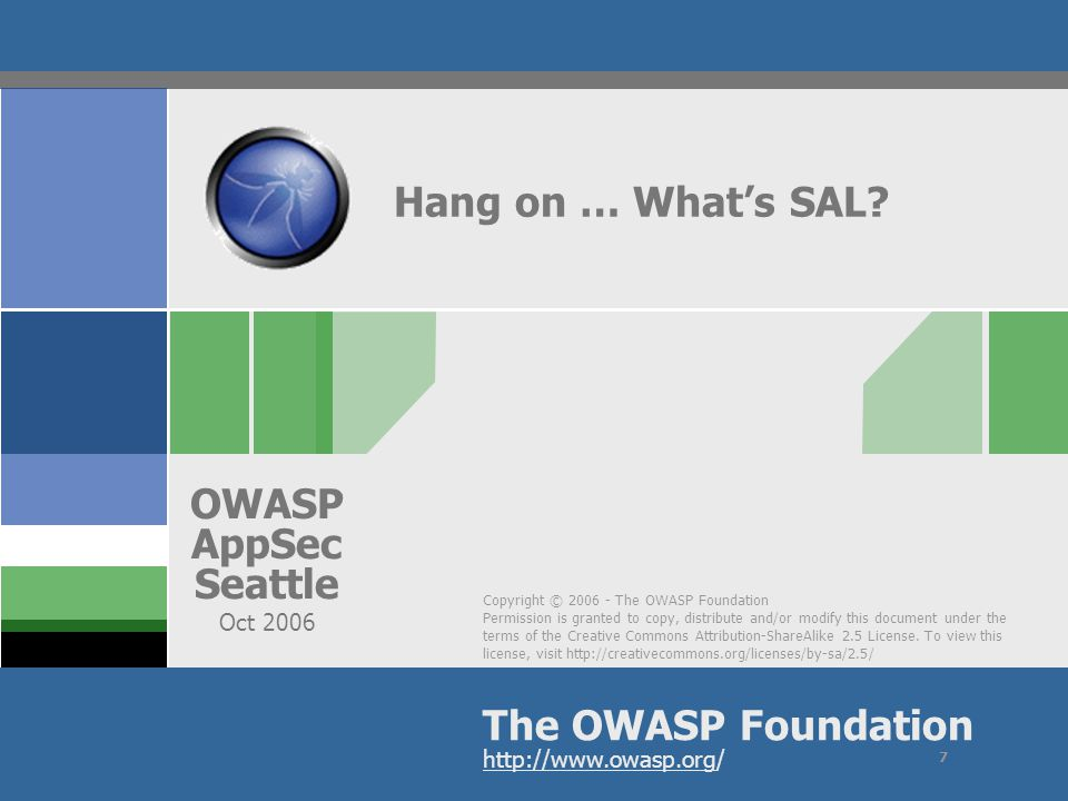 OWASP AppSec Seattle 2006 If all the upfront engineering fails… Windows Vista Defenses Core assumptions – Code is never perfect – Designs are never perfect – We must protect customers Remember, security is Man vs.