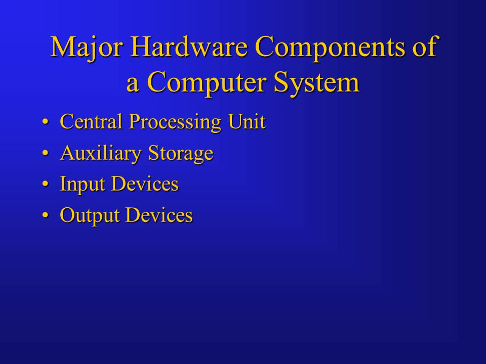 Major Hardware Components of a Computer System Central Processing UnitCentral Processing Unit Auxiliary StorageAuxiliary Storage Input DevicesInput Devices Output DevicesOutput Devices