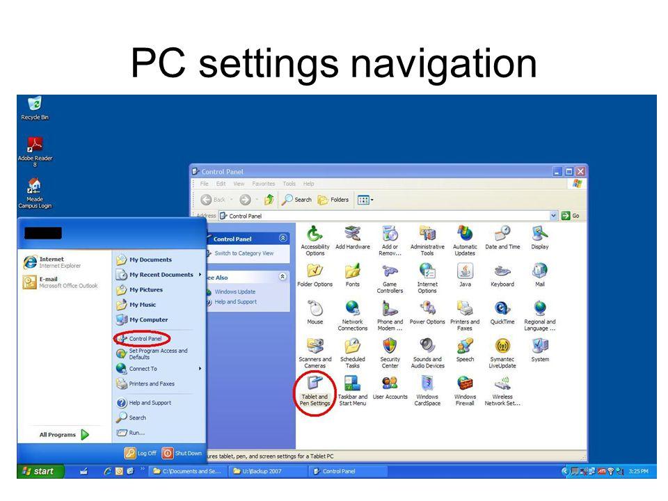 PC settings navigation