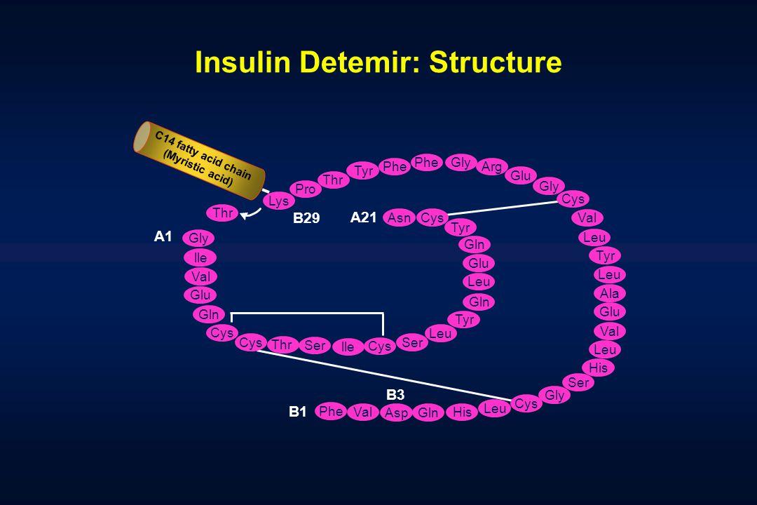 Insulin Detemir: Structure Lys Thr Tyr Thr Phe Gly Arg Glu Gly Val Leu Tyr Leu Ala Glu Val Leu His Ser Gly Leu His Gln Val Phe B1 B3 A21 B29 Pro Cys T
