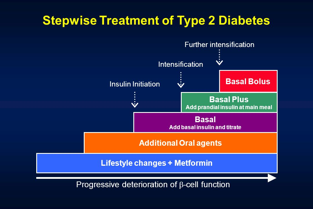 Lifestyle changes + Metformin Additional Oral agents Basal Add basal insulin and titrate Basal Plus Add prandial insulin at main meal Basal Bolus Insu