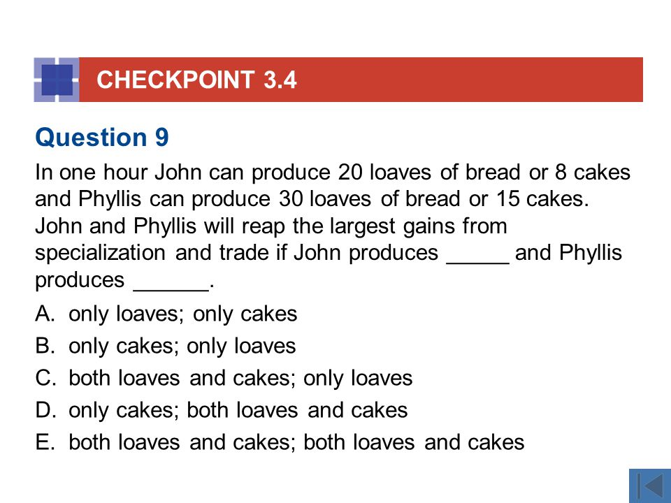 CHECKPOINT 3.4 A.only loaves; only cakes B.only cakes; only loaves C.both loaves and cakes; only loaves D.only cakes; both loaves and cakes E.both loa