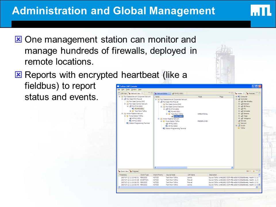 Administration and Global Management ýOne management station can monitor and manage hundreds of firewalls, deployed in remote locations. ýReports with