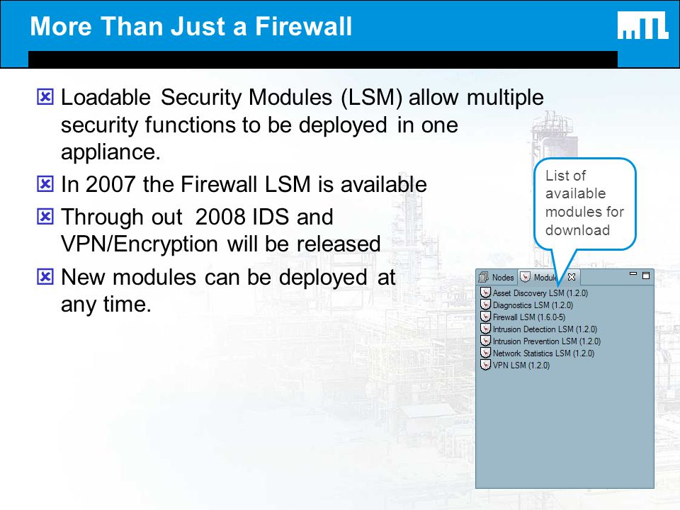More Than Just a Firewall ýLoadable Security Modules (LSM) allow multiple security functions to be deployed in one appliance. ýIn 2007 the Firewall LS