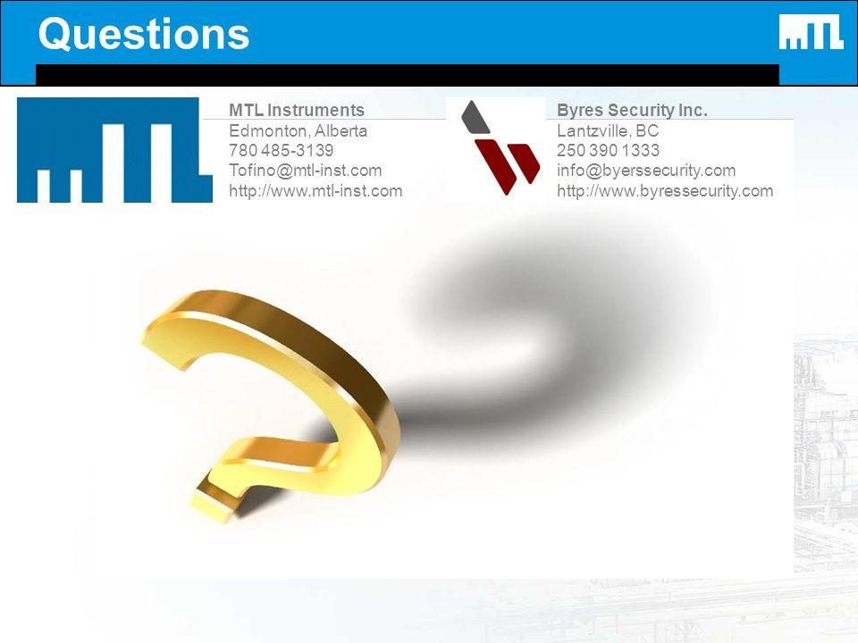 Questions MTL Instruments Edmonton, Alberta 780 485-3139 Tofino@mtl-inst.com http://www.mtl-inst.com Byres Security Inc. Lantzville, BC 250 390 1333 i