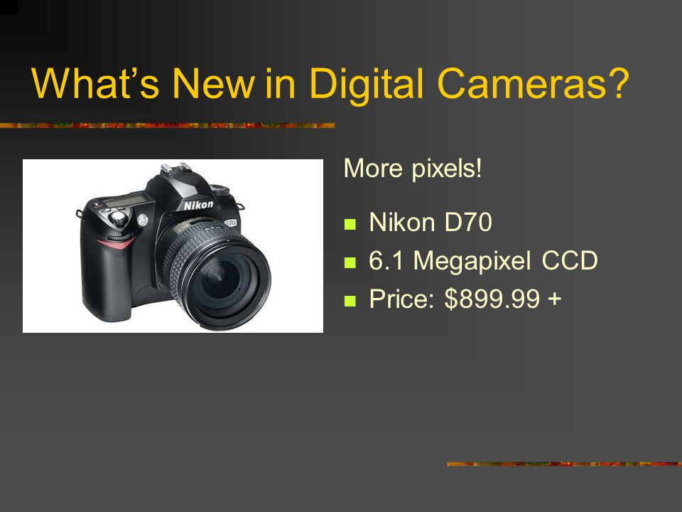 Whats New in Digital Cameras.More pixels.