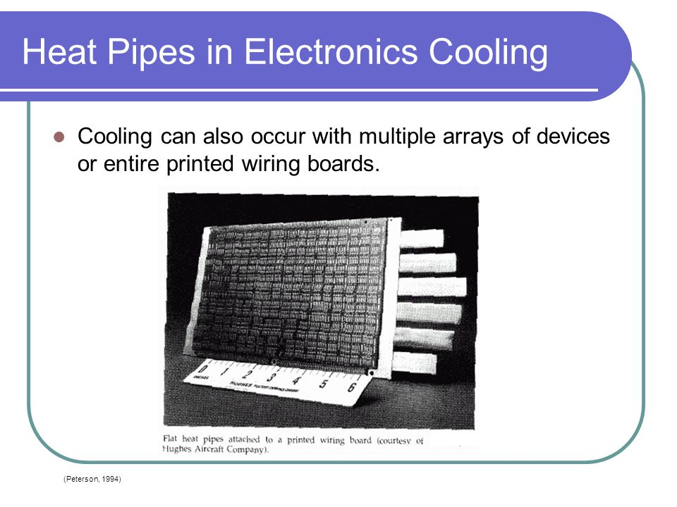 Heat Pipes in Electronics Cooling Cooling can also occur with multiple arrays of devices or entire printed wiring boards. (Peterson, 1994)