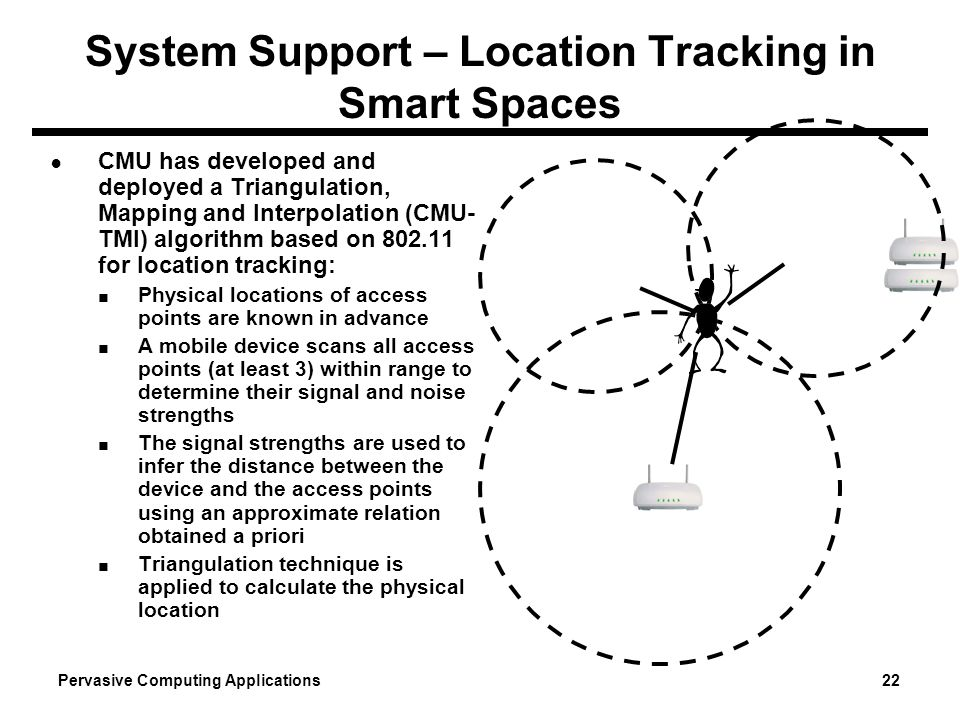 Pervasive Computing Applications 22 System Support – Location Tracking in Smart Spaces CMU has developed and deployed a Triangulation, Mapping and Int